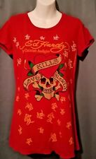 "Women's Ed Hardy Retro ""LOVE KILLS SLOWLY"" Graphic Skull Heart T Shirt ~ Size L"