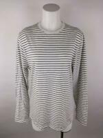 Old Navy Women sz M White Cotton Polyester Striped Long Sleeve T-Shirt Top