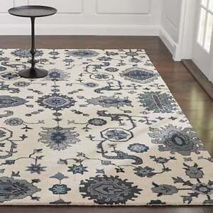 Crate & Barrel 5 x 8 Juno White Handmade Parsian Style 100% Woolen Rugs & Carpet