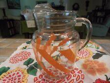 VINTAGE ORANGE STRIPE GLASS PITCHER W/ICE LIP AND (4) SUMMERTIME NAPKINS
