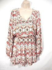 Show Me Your Mumu Womens Dress S Chiffon Peasant Long Sleeve Paisley Boho
