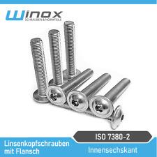 Linsenkopfschrauben mit Flansch DIN ISO 7380-2 Edelstahl V2A  M3 M4 M5 M6 M8 M10
