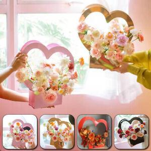 1PC Portable Flower Box Bouquet Basket Florist Packing Heart Shape Handbag Gift