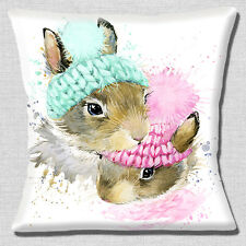 """Cute Baby Rabbits 16""""x16"""" 40cm Cushion Cover Woolly Hats Artistic Modern White"""