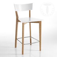 Sgabello KYRA Legno Massello Rovere Bianco Opaco Cucina Bar Moderno Design