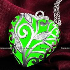 Green Glow In The Dark Silver Necklace Xmas Gift For Her Girlfriend Daughter Mum
