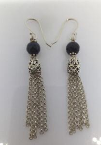Sterling Silver Navy Blue Agate Bead Tassell Dangle Earrings