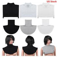 US New Women Cotton Faux Turtleneck False Half Top Blouse Collar Bib Neck Cover