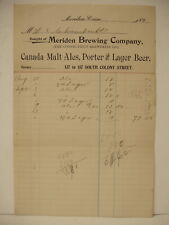 Pre-prohibition Meriden Brewery Letterhead Connecticut Conn 1901