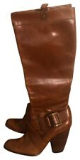 Frye Andrea Belted Tall Leather Heeled Knee High Brown Boots 6M / 6 M