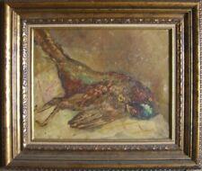 Peinture à L'Huile Erlegter Faisan Chasse Nature Morte ° Cadre Illisible Signé