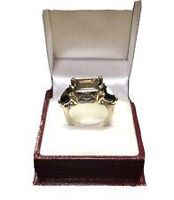Vintage 18 K Gold & Sterling Caviar Ring With Topaz & Garnet Size 7 1/2