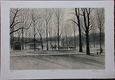 Lithographie s/n Harold ALTMAN lithograph Paris Jardin des Tuileries ponies **