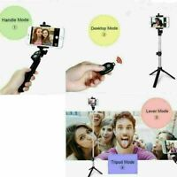 Bluetooth Selfie Stick Phone Stand Remote Telescopic Monopod Tripod Black