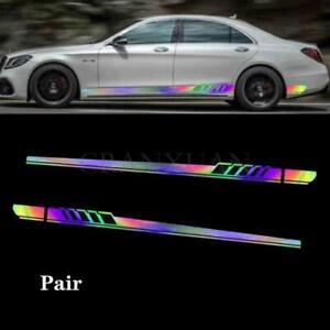 2PCS Car Reflective Racing Long Stripe Graphics Side Body Vinyl Decal Sticker