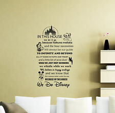 "In This House We Do Disney Wall Decal 37x22"" Quote Vinyl Sticker Poster 110ct"