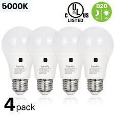 Hykolity 4 Pack Dusk to Dawn A19 Light Bulb 60W Replacement 800LM 5000K UL