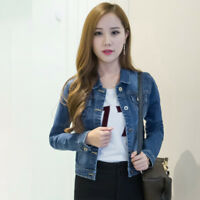 Women Girl Spring Short Denim Jacket Slim Long Sleeve Casual Jeans Coat Outwear