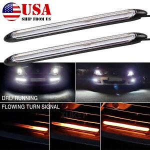 """×2 9.25"""" LED White DRL Car Daytime Light Strip Headlight Bumper Fog Light Bar"""