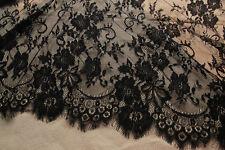 Lace Fabric Black Graceful Eyelash Floral Wedding Fabric Bridal 3.3 yard / 300cm