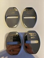 To Fit Audi 4Pcs S Line Door Lock Cover Metal Latch Buckle Car Silver