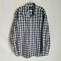 Wrangler Mens Blue Plaid Pearl Button Front Long Sleeve Western Shirt Size V302
