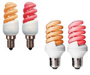 Electric Fire Glow CFL Spiral Light Bulb 7W, 9W, 11W SES E14, ES E27 Red Amber