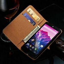 BROWN Luxury REAL LEATHER WALLET STAND CASE WITH CARD SLOT FOR NEXUS 6P UK POST
