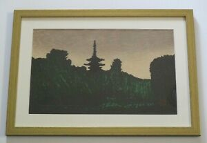 RARE KAWANO KAORU WOODBLOCK PRINT HAND PENCIL SIGNED LANDSCAPE MODERNISM JAPAN