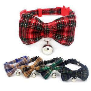 Collar Cat Kitten Dog Puppy Pet Breakaway adjustable Bow Tartan Plaid Christmas