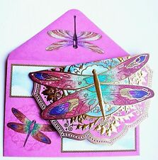*PUNCH STUDIO Set of 4 Gold Foil Die-Cut Blank Note Cards ~ Fancy Dragonfly