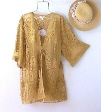 New~Honey Mustard Crochet Lace Cardigan Kimono Duster Boho Top~Size Small S M