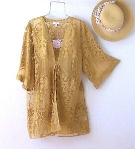 New~Honey Mustard Crochet Lace Kimono Duster Tunic Boho Top~Size Small S M