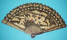 RARE ANTIQUE CHINESE GOLD PAINTED LACQUER TIGER HUNT FIGURAL SCENE BRISE FAN