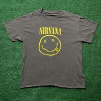 Vintage Nirvana T Shirt Smiley Face Graphic Logo 1992 Gray Yellow Rock Size L