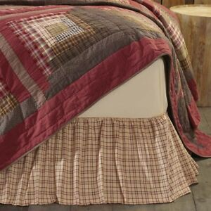 """VHC Brands Tacoma Rustic Twin Bed Skirt Creme Barn Red Evergreen Plaid 39x76x16"""""""