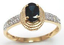 BEAUTIFUL 9KT YELLOW GOLD OVAL SAPPHIRE & DIAMOND RING  SIZE 7   R986