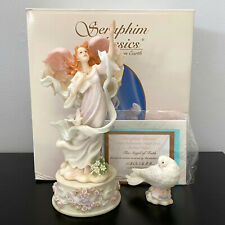 Seraphim Classics Angel of Faith Holding Bible with Dove 3pc Figurine Box Coa