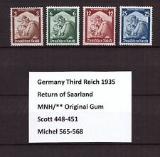 U0254) GERMANY REICH 1935 Sc 448-451 Mi 565-568 MNH **, Return of Saarland