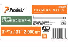 Paslode 3-1/4 inch 30 Degree Framing Nail Gun Nailer 2000 Pack Paper Tape Nails