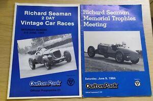 2 x OULTON PARK 1984/5 RICHARD SEAMAN MEMORIAL TROPHIES MEETING A4 Programmes