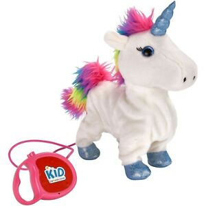 Kid Connection Walking Wagging Tail White Rainbow Unicorn Toy