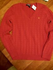 NWT LAUREN RALPH LAUREN RED CABLE KNIT V-NECK SWEATER, SIZE L