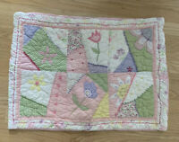 Pottery Barn Kids Quilted Standard Pillow Sham Pink Pastel Flowers Patch 20 X 27