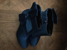 M&S Bow Cobalt Blue Stiletto Ankle Satin Boots Size 6.5 New RRP £49.50 Free p&p