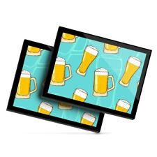 2 X Manteles Individuales De Cristal 20x25 Cm-Vasos De Cerveza Pub Home Bar #2853