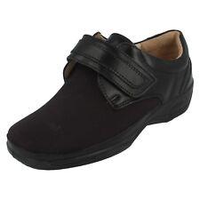 Mujer Equity NEGRO LEATHER / Textil CIERRE ADHESIVO Zapato GB 3 3e/4e Fit