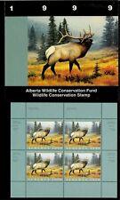 Alberta #4 1999 Elk Conservation Stamp Mini Sheet Of 4 In Folder Nh