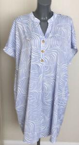 M&S Size 20 Blue Mix V Neck Slouch Shift Dress with Pockets Bnwt