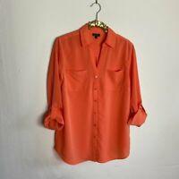 Talbots Womens Top Blouse Button Down Shirt Orange Size Medium